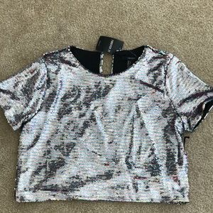NWT: Forever21 Sequins knit top, pink & light blue